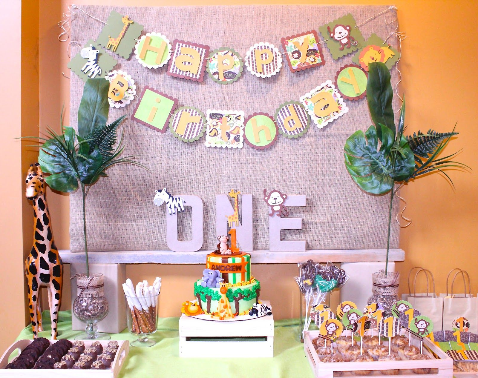 Safari jungle birthday party one year old party Kids Party Ideas