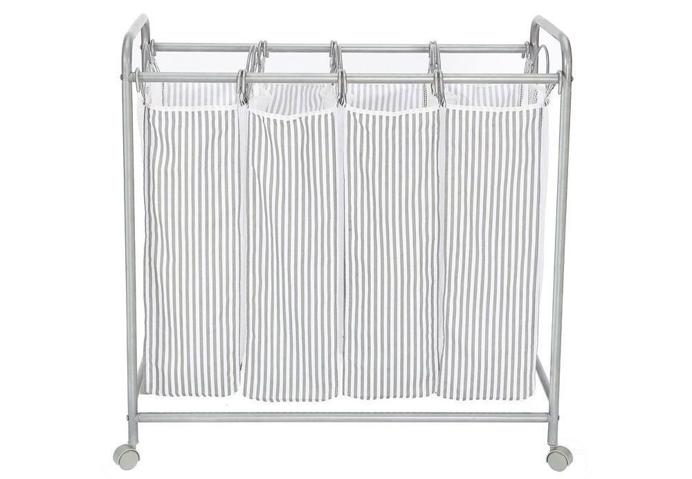 Rolling Laundry Hamper Wheels Washing Cloth Basket Laundry Sorter