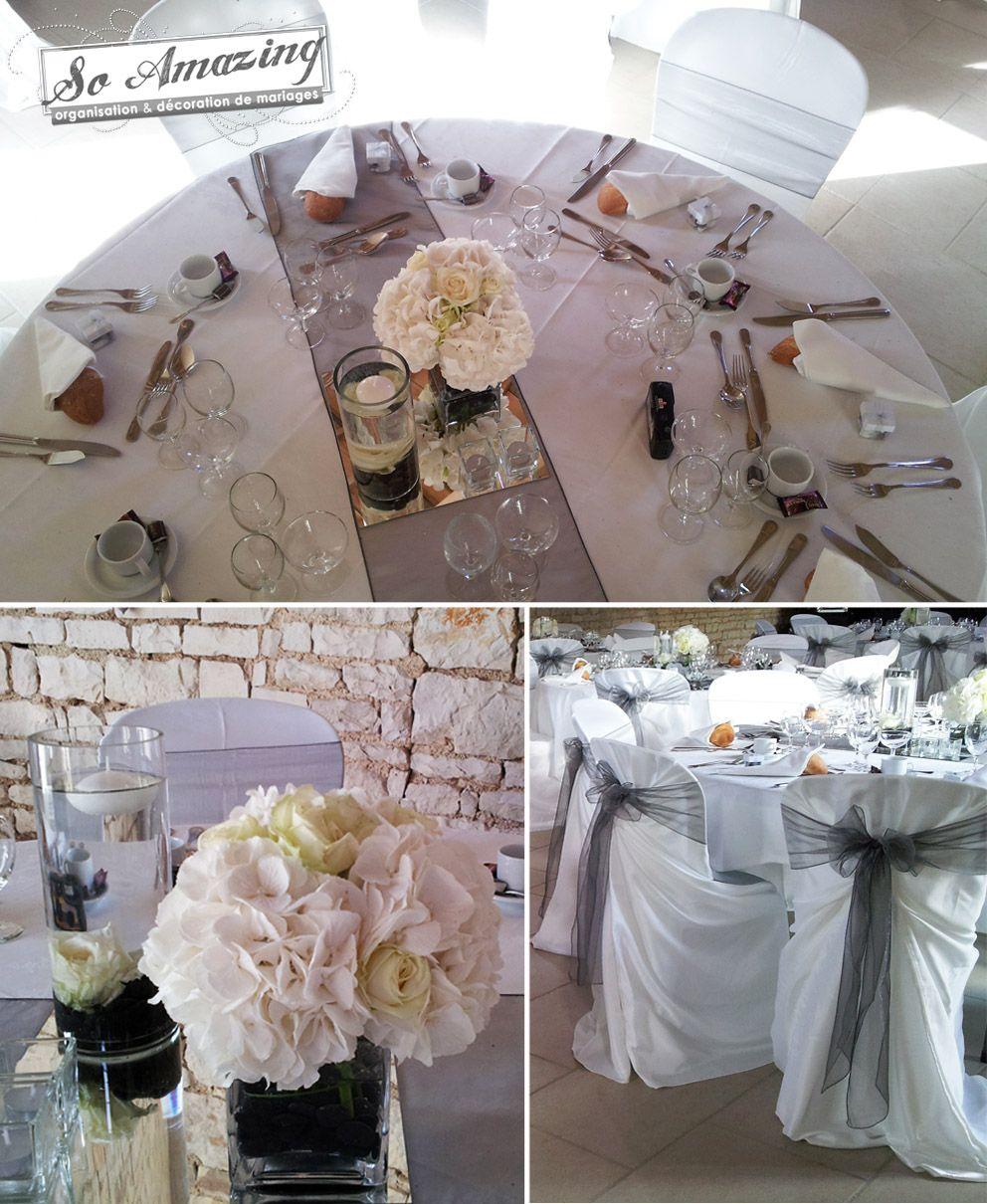 D coration de mariage gris perl anthracite argent blanc la gravette niort id es d cor centre - Centre de table mariage ...