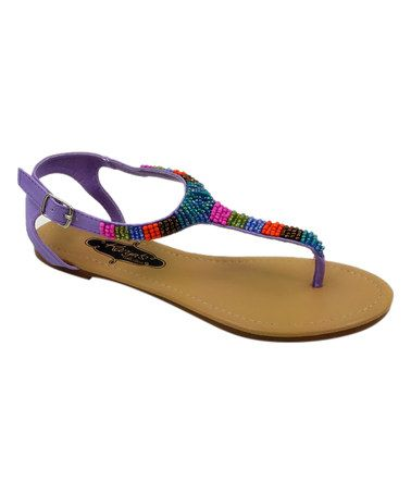 3d2696ba8 This Purple Beaded T-Strap Sandal is perfect!  zulilyfinds