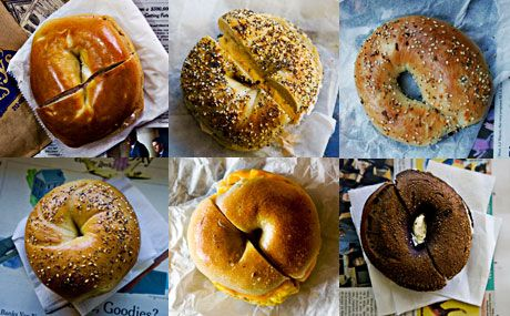 Clockwise top left: Murray's Bagels, Absolute Bagels, H&H Bagels, Kossar's Bialys, Bagel Hole, Bagel Cafe.  ©Malcolm Brown