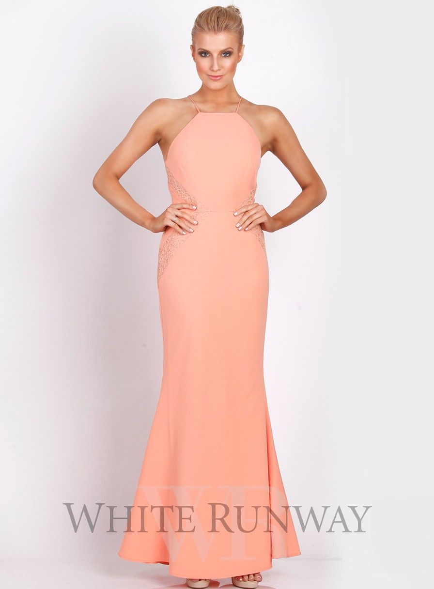 Isabella dress by love honor a stunning full length dress by length dress by australia designer love honor a high neckline style featuring lace applique on the waistline available in peach navy dusty pink ombrellifo Gallery
