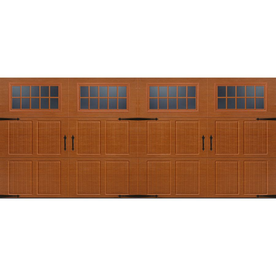 Carriage garage doors without windows  Shop Pella Carriage House Series in x in Insulated Golden Oak