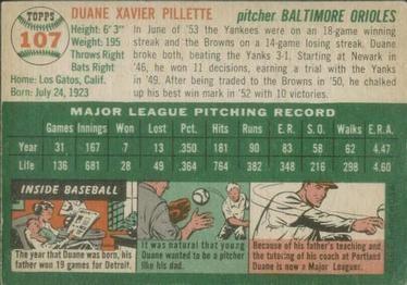 1954 Topps #107 Duane Pillette Back