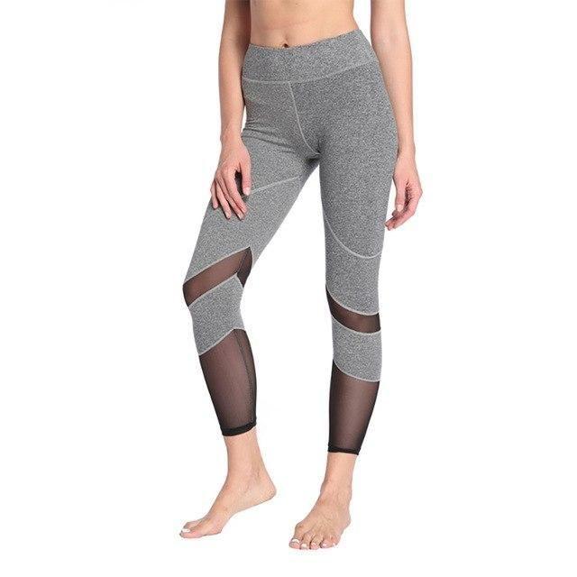 Lucylizz Women Mesh Elastic Yoga Pants Sports Leggings Fitness Clothing Gym Leggins Sportswear Runni...