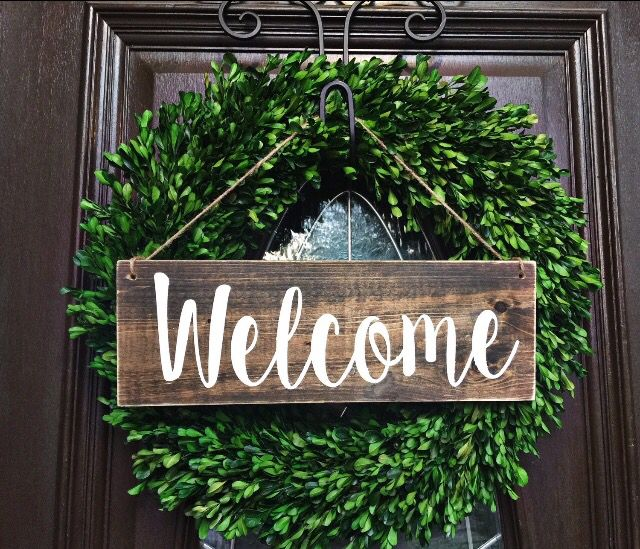 Boxwood Wreath Welcome Sign Door Decorations Welcome Signs Front Door Handmade Home Decor