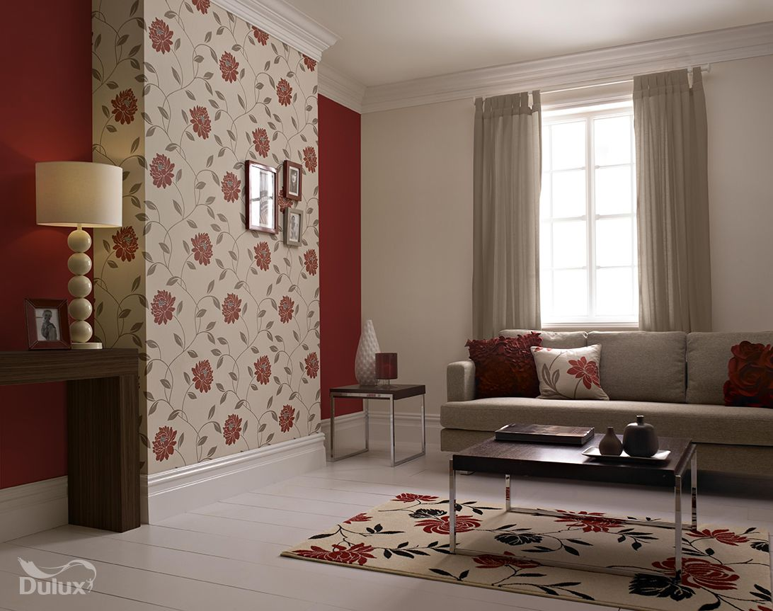 This beautiful floral is the perfect feature wall design Living room feature wallpaper ideas