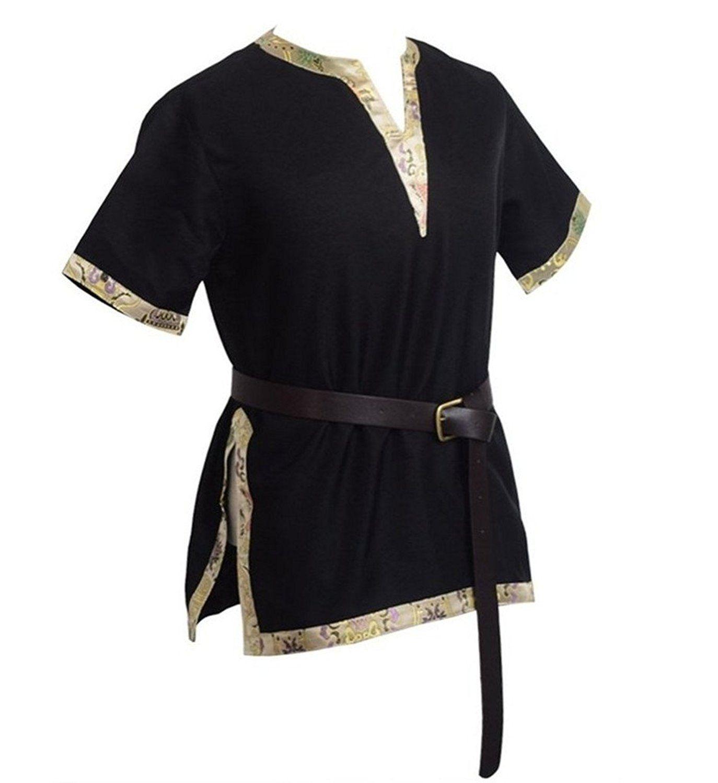 Medieval Norseman Tunic Viking Men/'s Shirt Saxon Larp Tops Costume Fancy Dress
