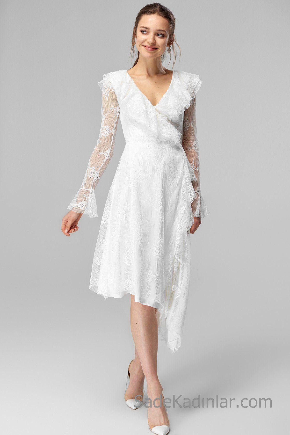 2020 Dantel Elbise Modelleri Beyaz Midi V Yakali Uzun Kol Elbise Modelleri Dantel Elbise Elbise