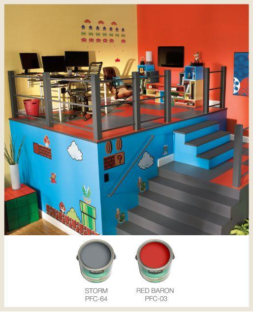 Create A Pixelated Floor Design For Your Multimedia Room Using Porch U0026 Patio  Floor Paint.