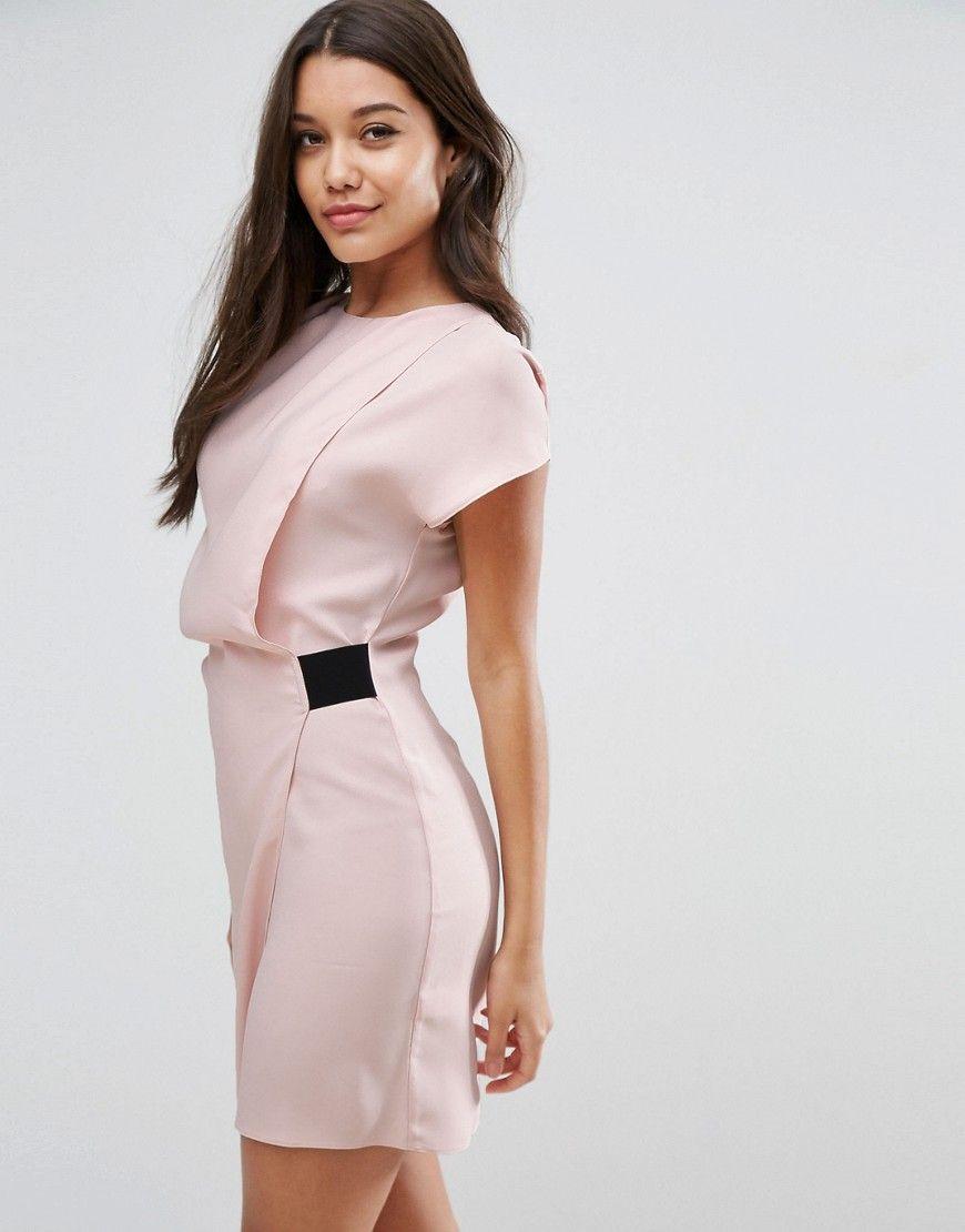 62cd72392918 ASOS Drape Front Mini Dress with Elastic Detail - Pink