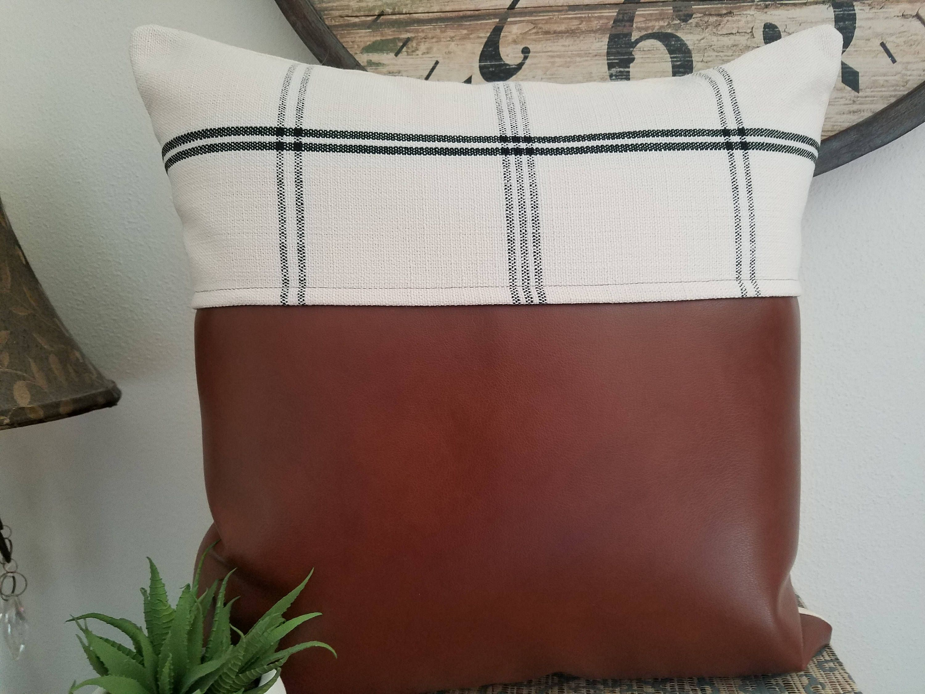 Faux Leather Throw Pillow with Cream & Black Plaid Fabric Decorative ...