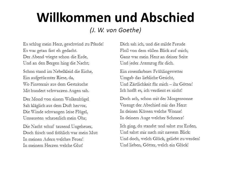 Willkommen Und Abschied J W Goethe Quotes Gedichte