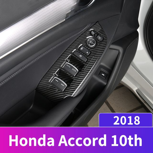 For Honda Accord 2018 Window Switch Button Panel Trim Cover Carbon Fiber Style