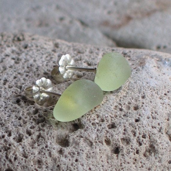 Soft Green Sea Glass Sterling Silver Studs Post by TidelineDesigns
