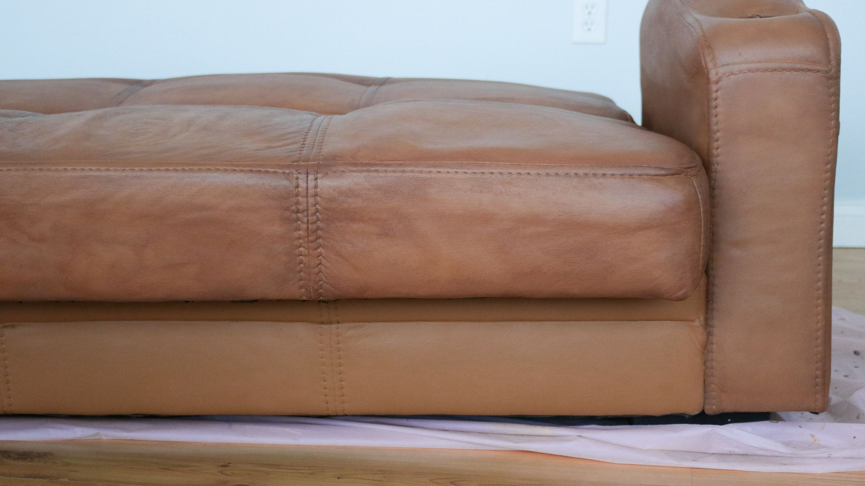 How To Paint Your Microfiber Couch To Look Like Real Leather Lily Ardor Fabric Paint Couch Fabric Painted Sofa Furniture Fabric