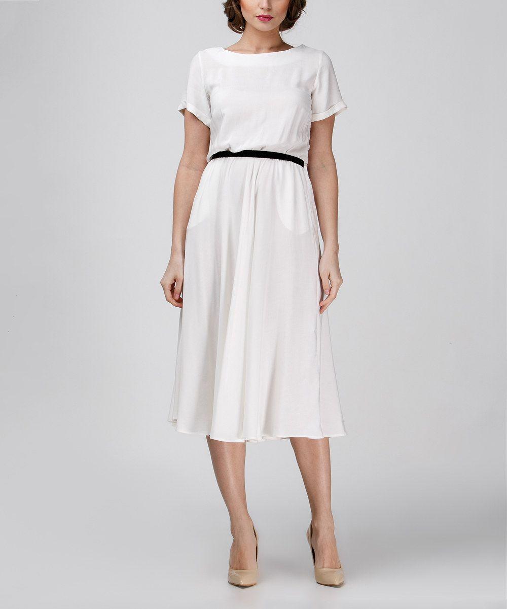 White Professional Short-Sleeve Midi Dress