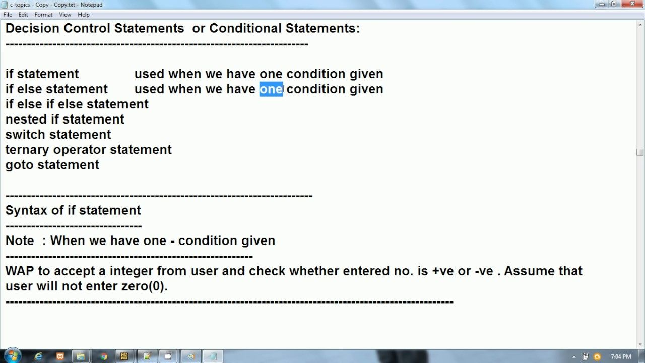 C Programming In Hindi Decision Control Statements Conditional