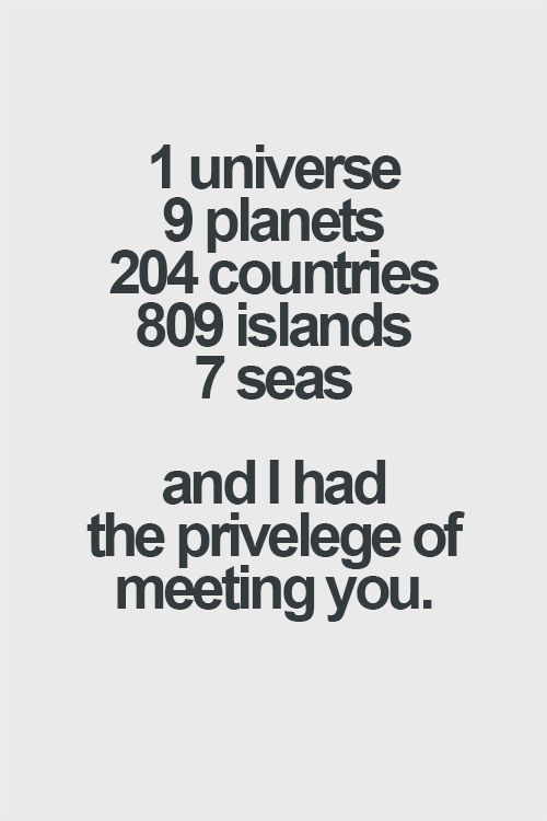 1 Universe 9 Planets 204 Countries 809 Islands 7 Seas And I Had