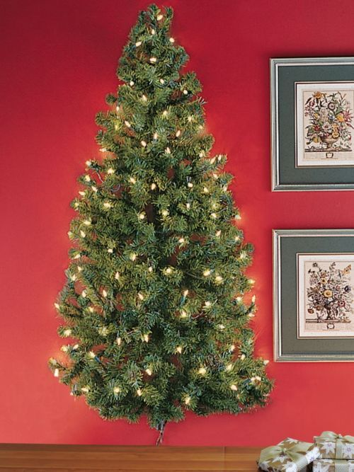Lighted Wall Tree - Pre-lit Christmas Tree Hangs on Wall   Solutions ...