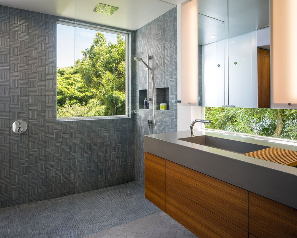 Bathroom Remodeling San Francisco master bathroom remodel with gray parquet ceramic tiles and hand