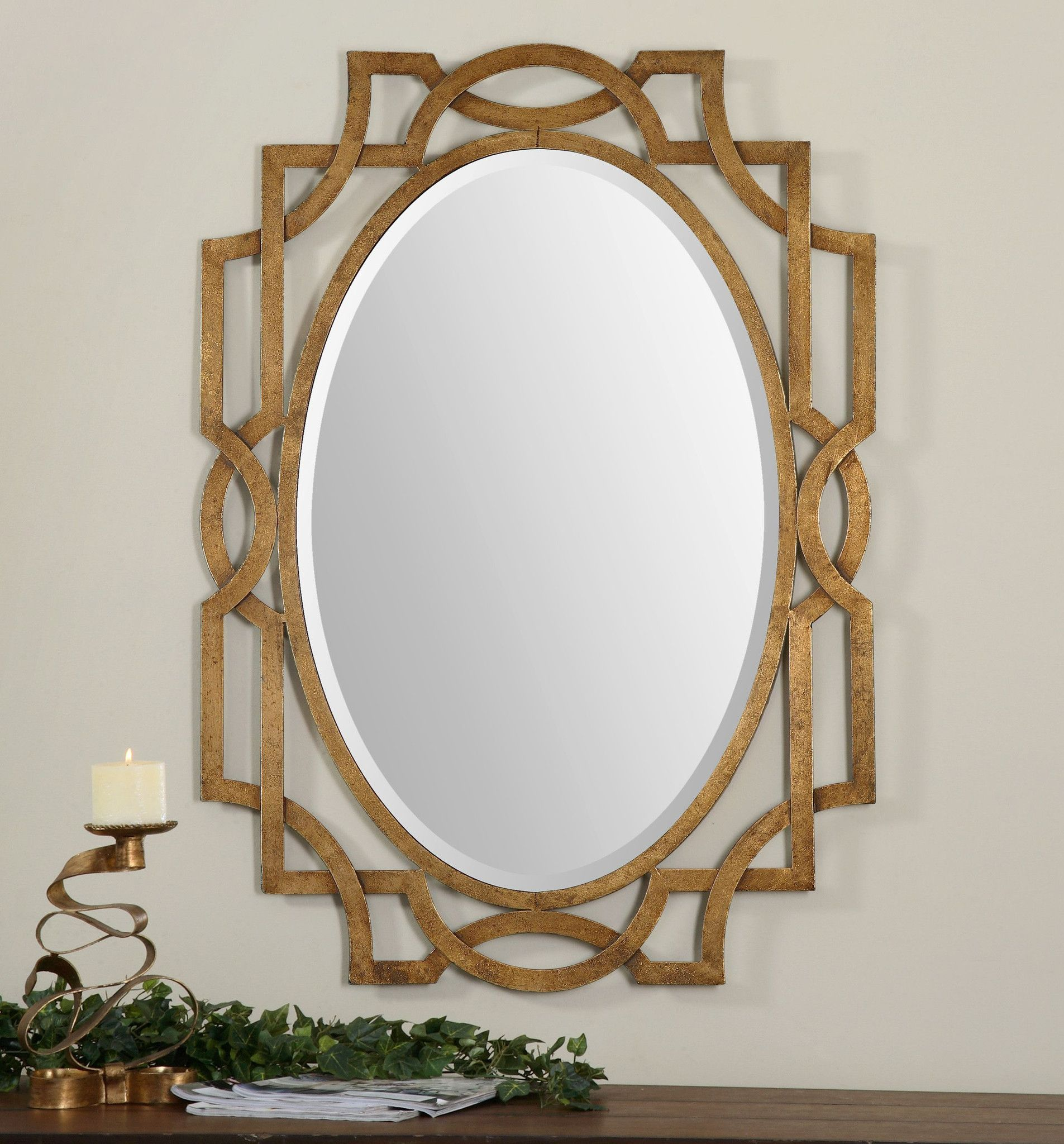 margutta gold oval mirror forging metal contemporary furniture