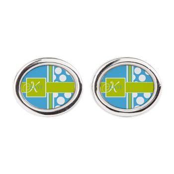 Sky Blue Green Polka Dots Monogram Cufflinks