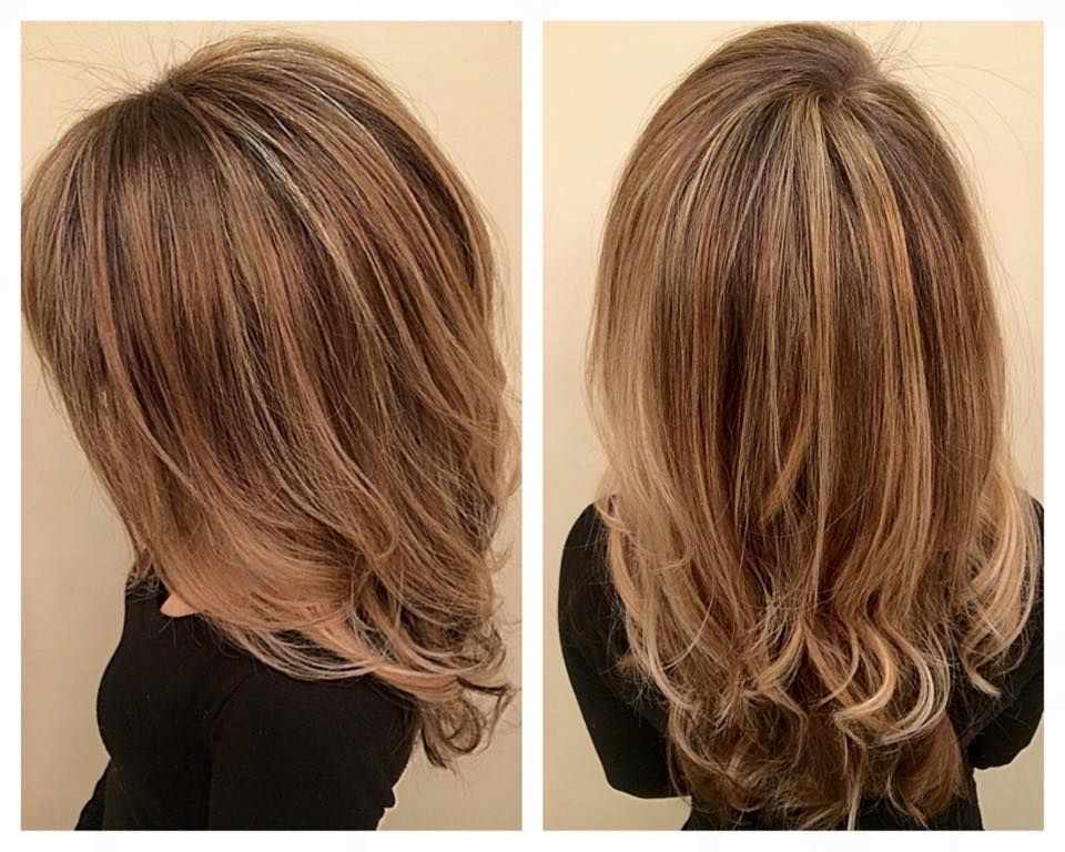 Balayage Hand Painted Highlights Layers Angles And Loose Curls