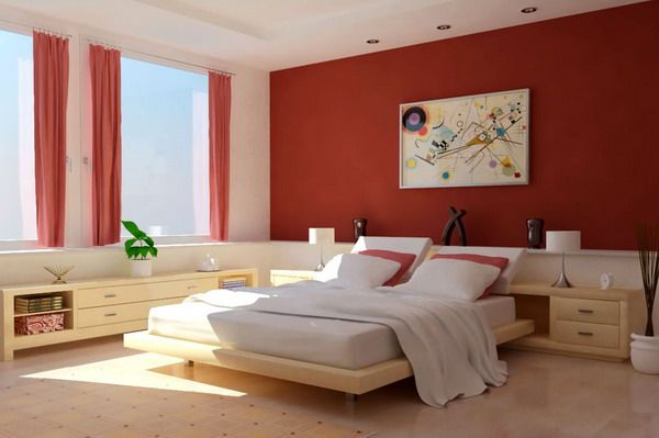 Bedroom Painting Designs Cool Strong Red Bedroom Color Design  Interior Design  Pinterest Design Ideas