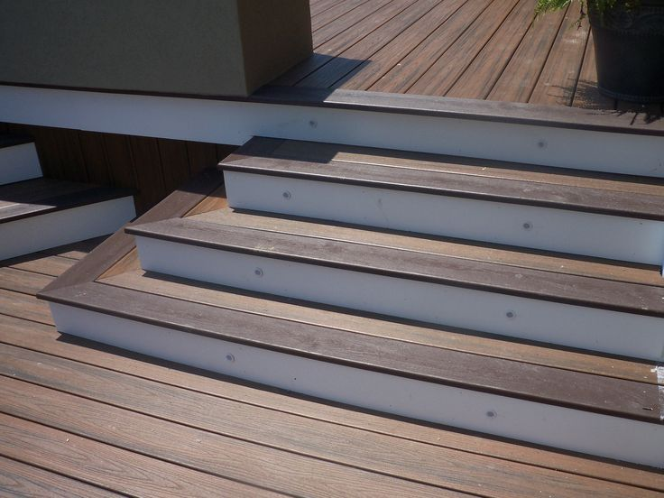 Composite decking used as stairs google search outdoor living pinterest decking and for Composite exterior stair treads