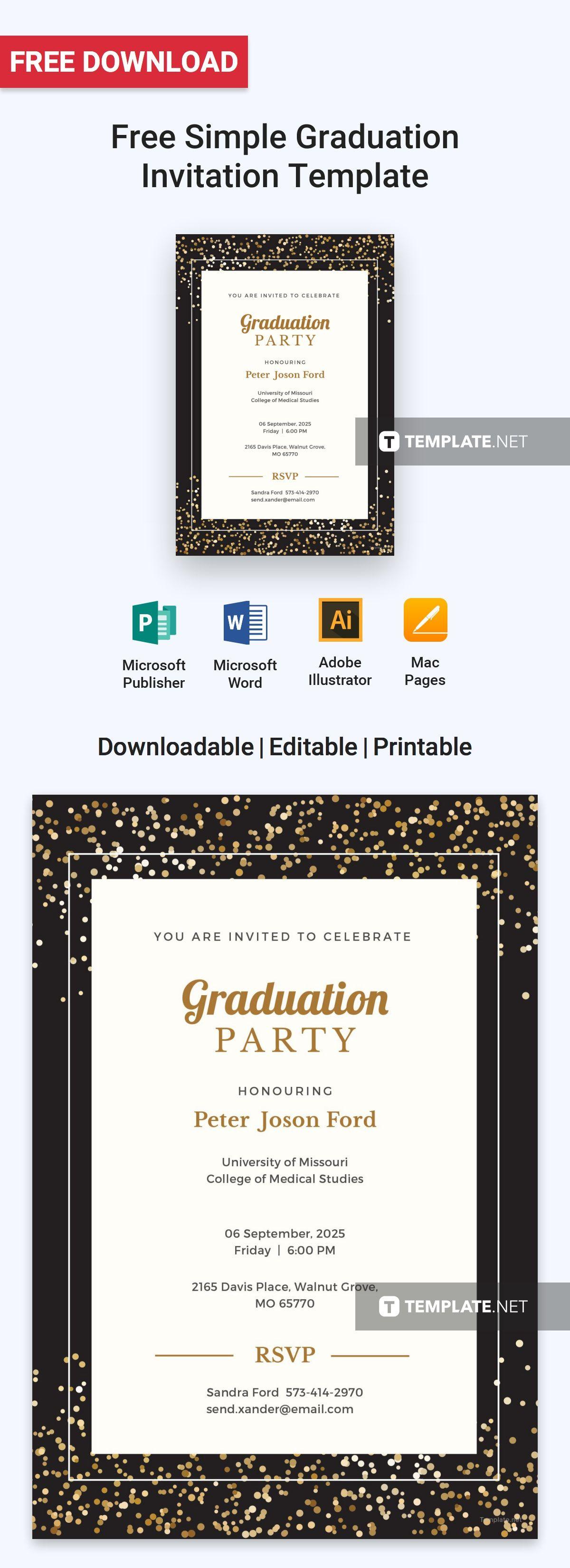 free simple graduation invitation invitation templates designs