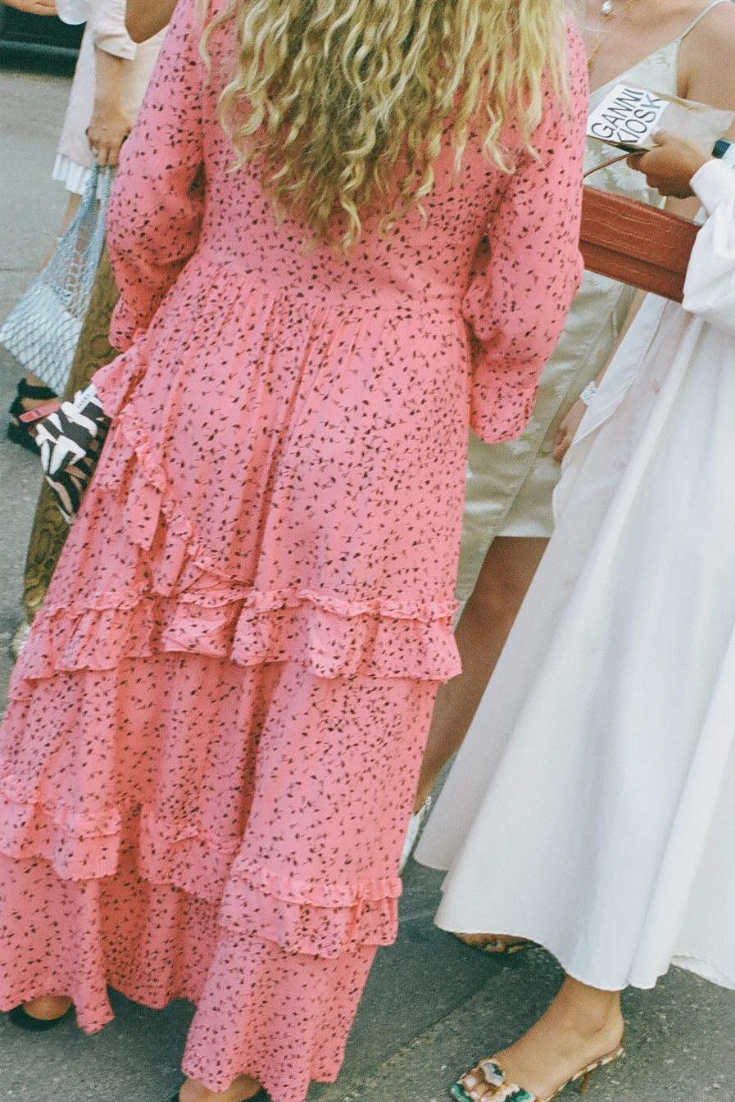 906f3621c3 Fashion editor  harlingross in Ganni Barra Crepe Dress during the fashion  week! Photo by  chloehorseman.  adrianaonline  dresses  mididress   pinkdress ...