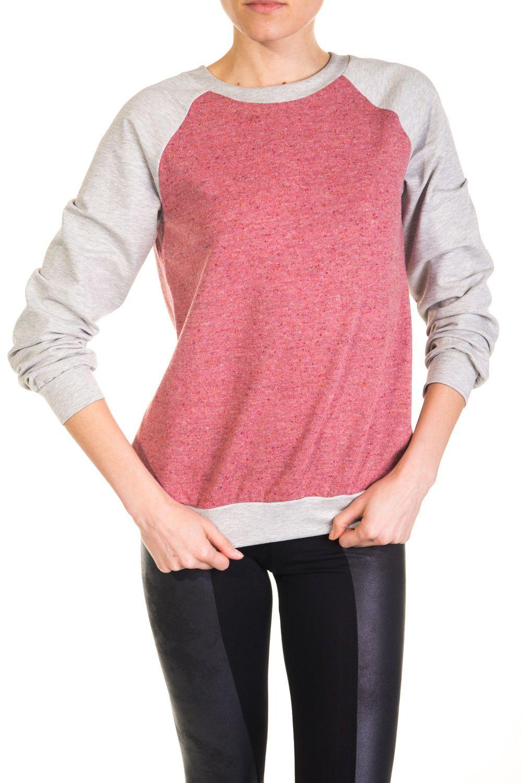 Szara bluza z ceglaną wstawką