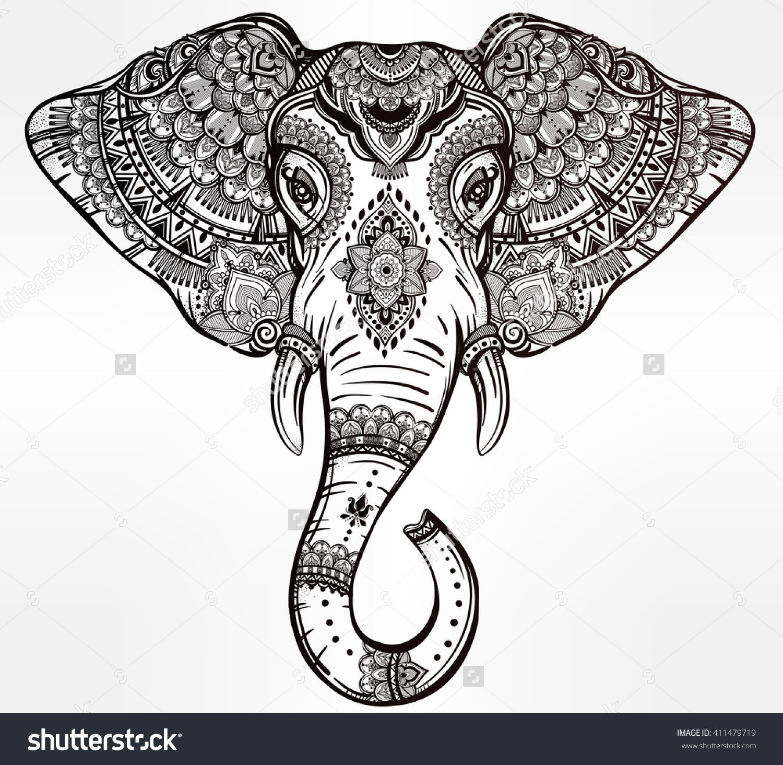 Elephant Mandala Tattoo Tattoos T Tatuajes Elefantes Y: Vintage Mandala Vector Elephant With Tribal Ornaments