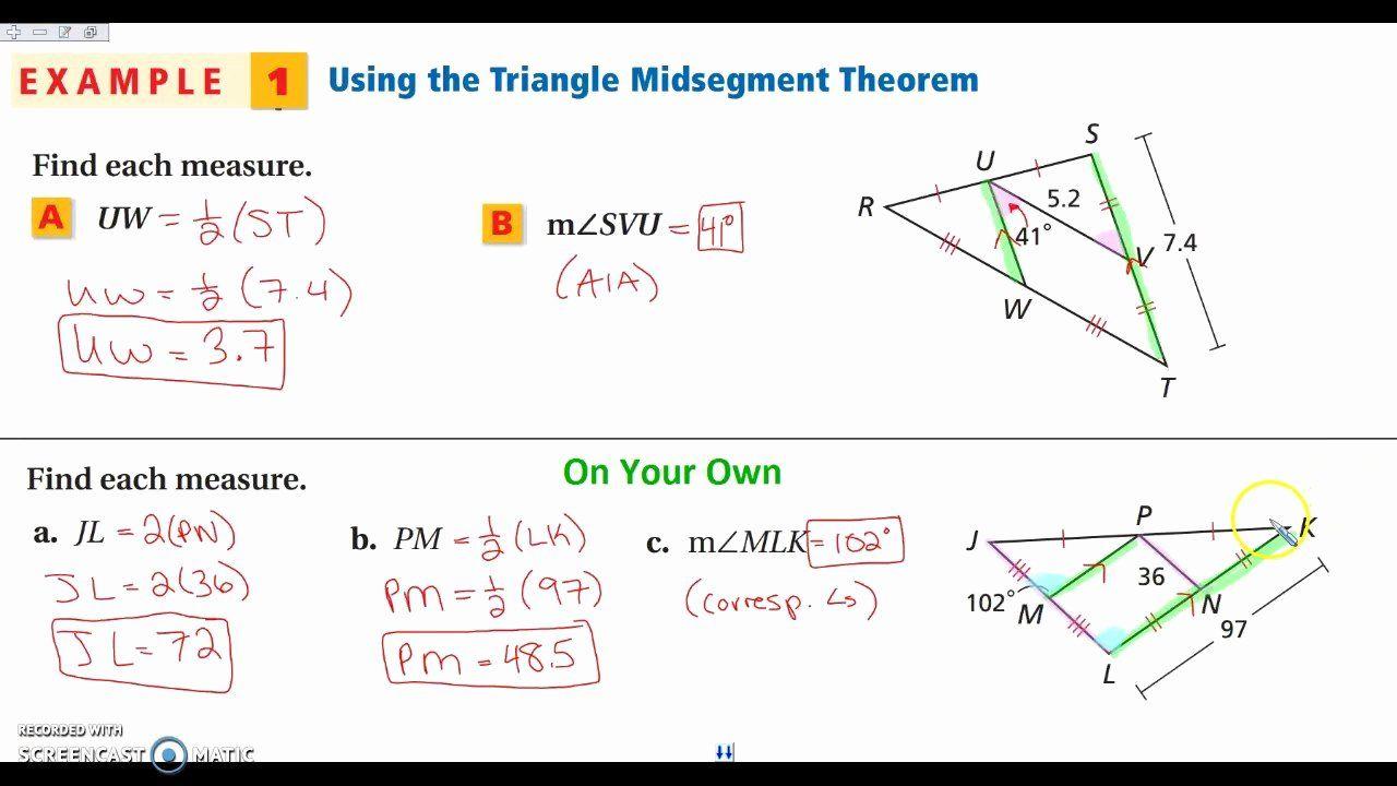 Midsegment Of A Triangle Worksheet Elegant Midsegment A Triangle Worksheet In 2020 Triangle Worksheet Worksheets Shapes Worksheets