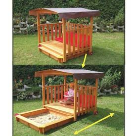 "Love the ""playhouse"" Sandbox slides out. Push back in when done for the day. Great idea!"