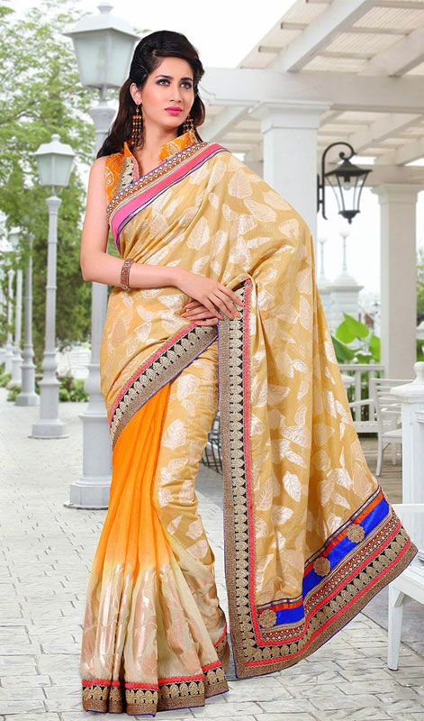 Orange and Pale Apricot Jacquard Linen Saree Price: Usa Dollar $101, British UK Pound £60, Euro75, Canada CA$110 , Indian Rs5454.