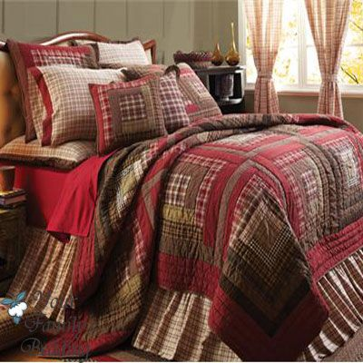 Red Rustic Log Cabin Plaid Twin Queen Cal King Size Lodge Quilt