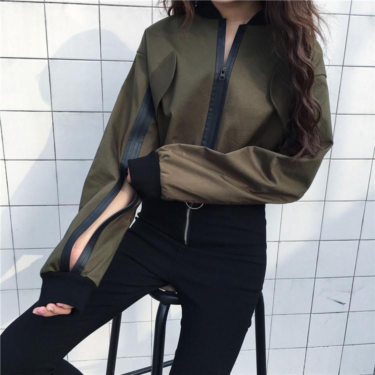 Crop Jeans Jacke mit Patchwork Design und Reißverschluss