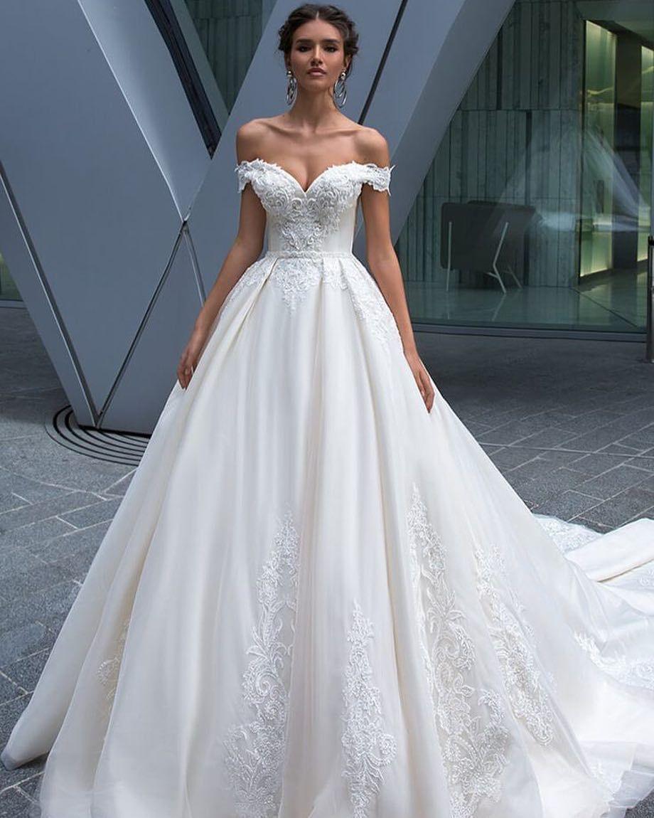 White bridal dress appliques Wedding Dresses, off shoulder