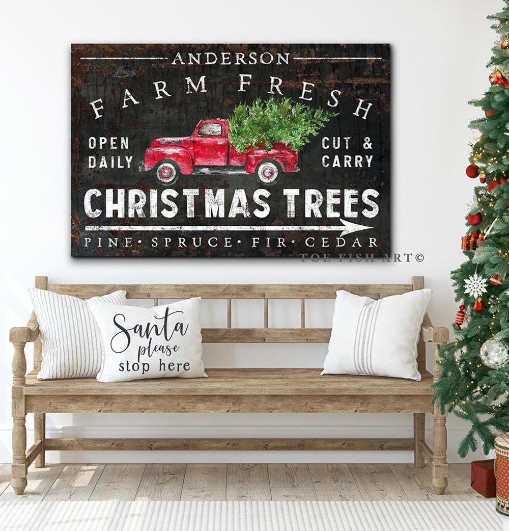 Vintage Farmhouse Christmas Sign Christmas Trees For Sale Wall Art Christmas Tree Sale Christmas Signs Outdoor Christmas Decorations