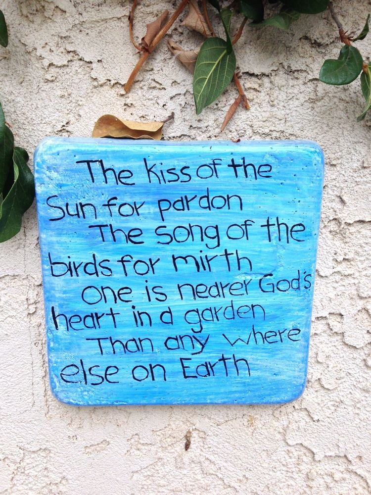 Handcrafted Cement Blue White Square Wall Plaque With Poem Garden