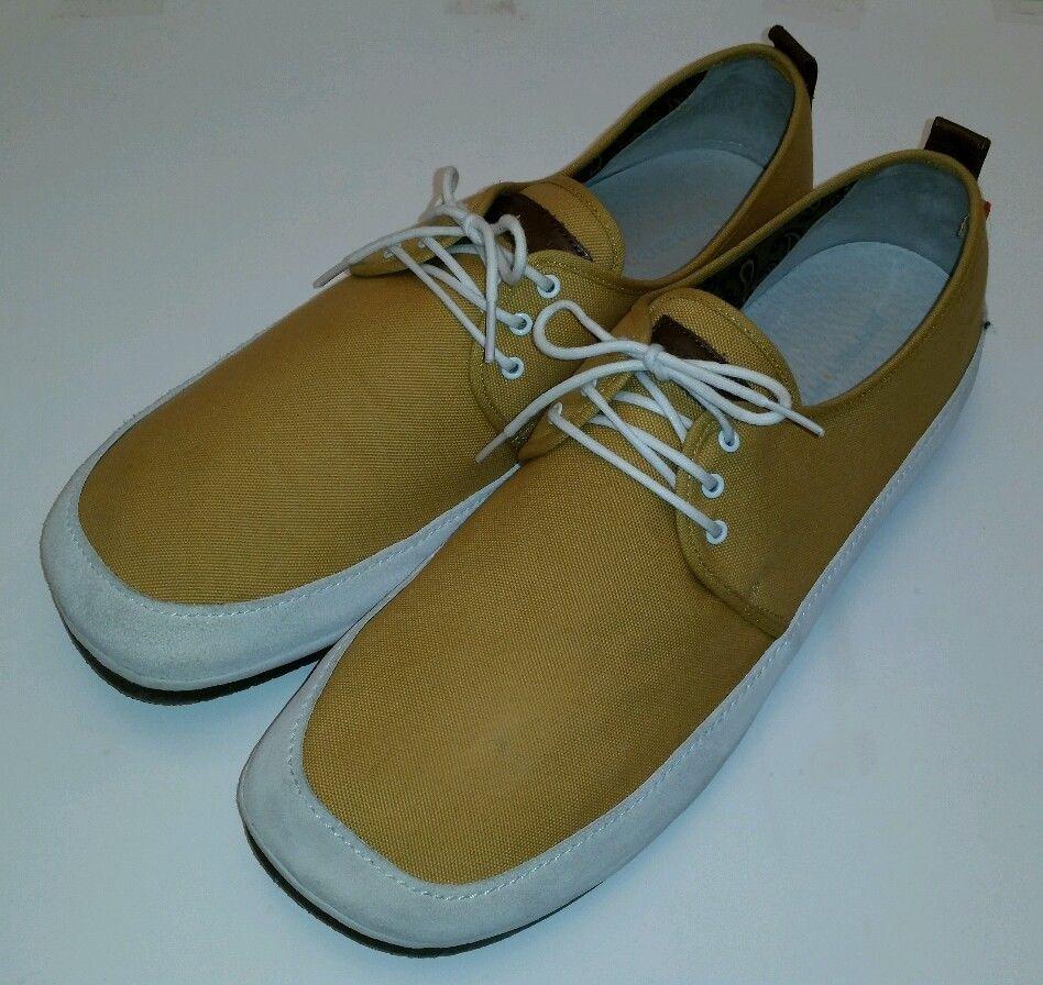 Jeffrey Fitzhugh Monarch Mustard Leather Canvas Boat Shoes Men ...