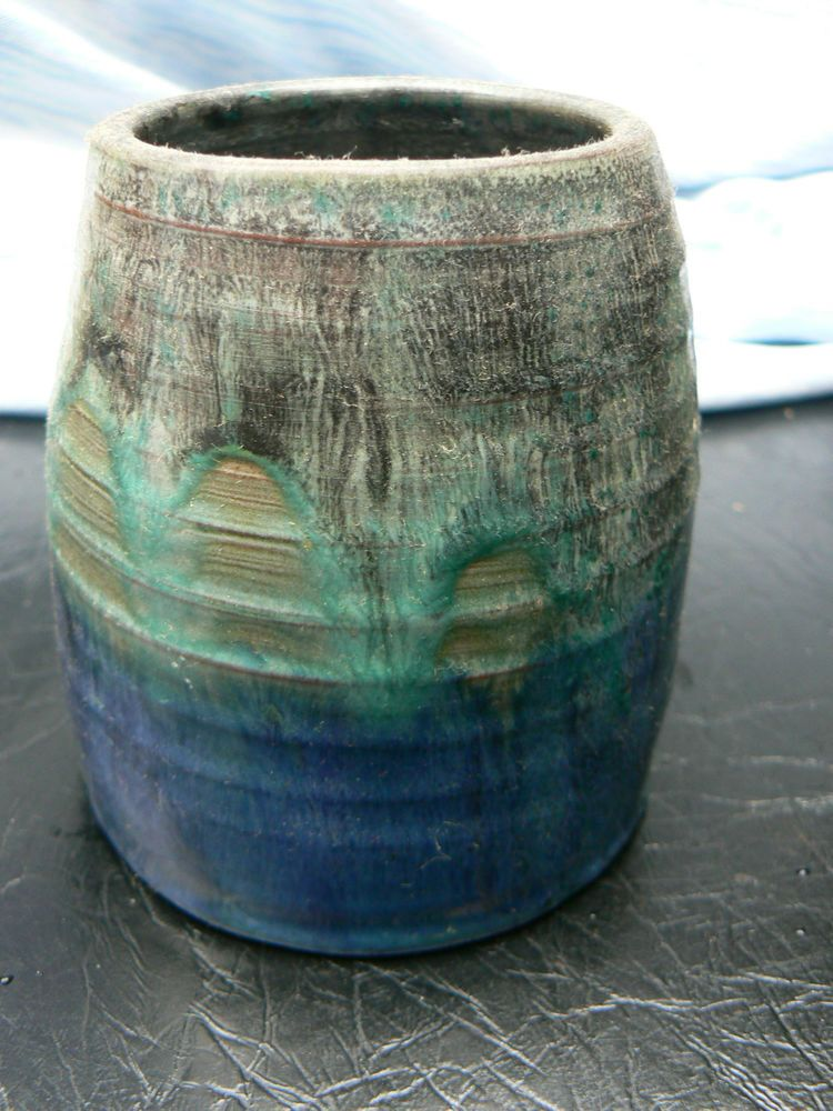 Vintage Blue Drip Glaze ceramic studio pot signed stoneware terracotta in Pottery, Porcelain & Glass, Pottery, Studio   eBay