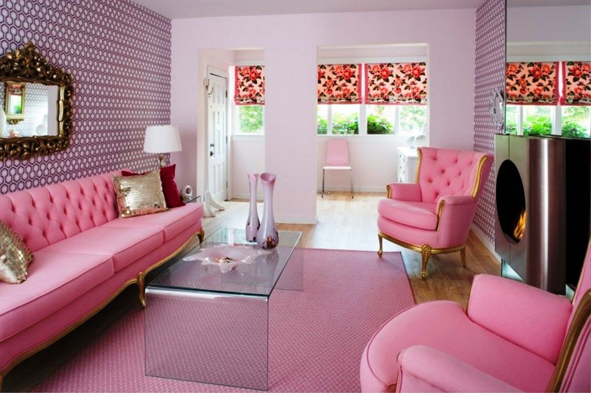 Modern Pink Living Room Design  Real House Design  Living Room Entrancing Pink Living Room Furniture Design Decoration