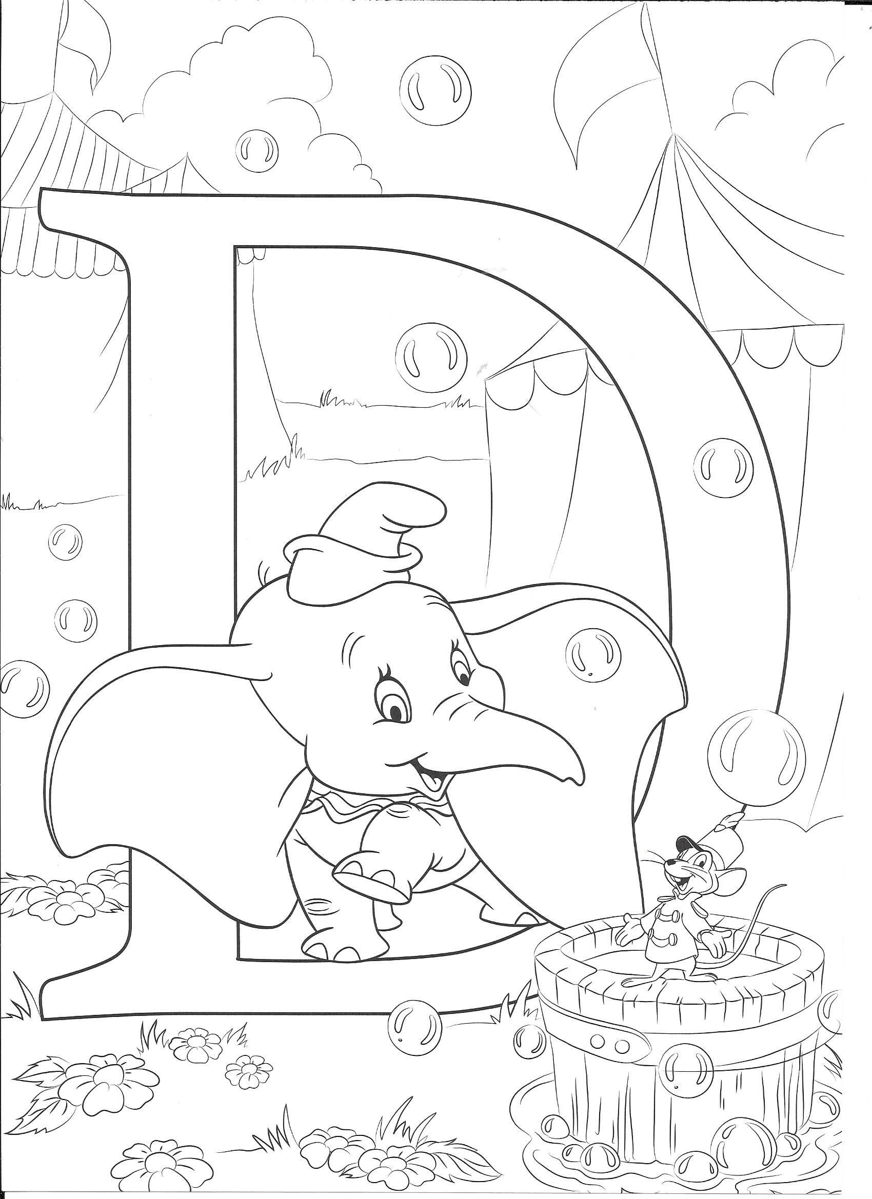 Dumbo Color Page Disney Coloring Pages Color Plate