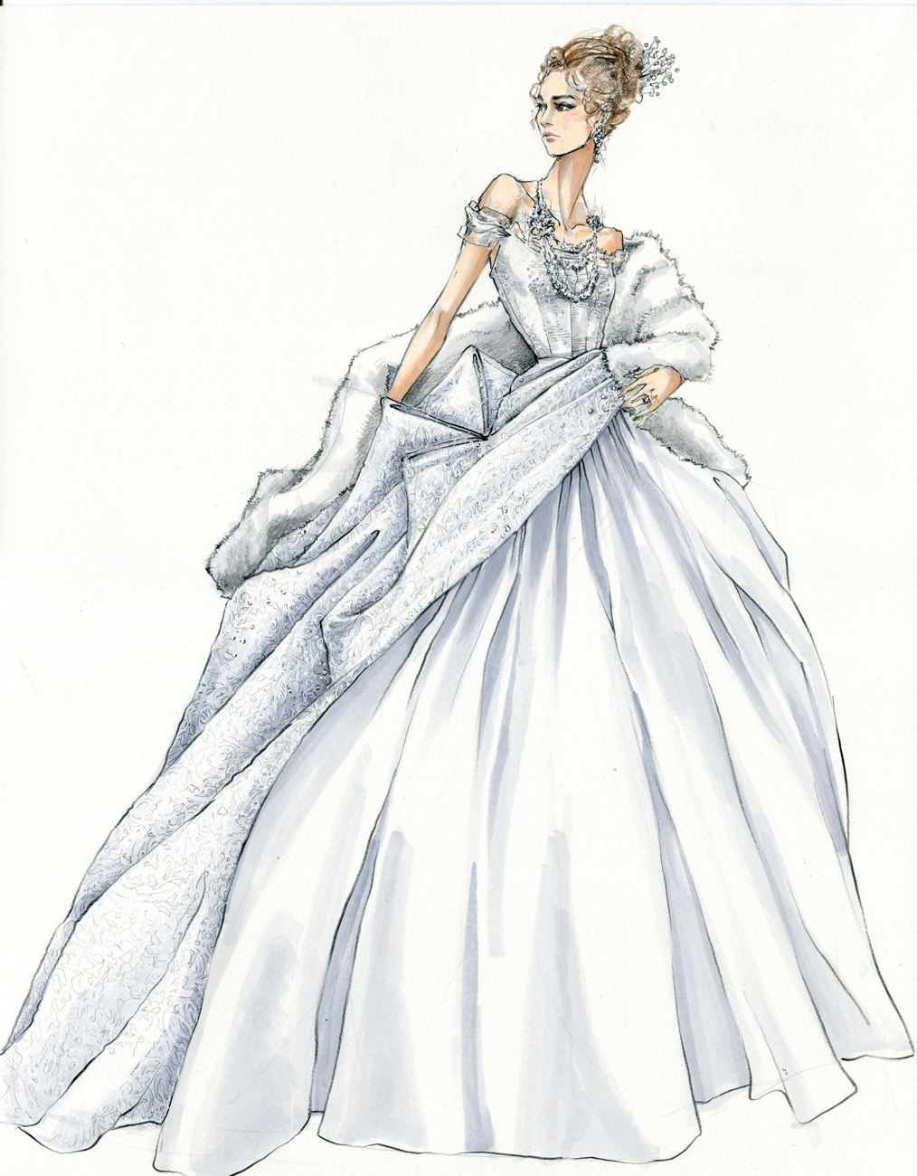 White dress drawing - Sketch To Still How Anna Karenina S Ill Fated Heroine Came To Wear Unlucky Capes Couture Inspired Gowns And 2 Million In Chanel Jewels