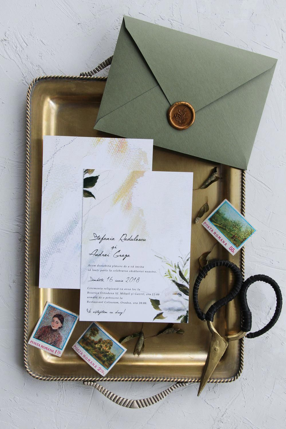 Greenery Watercolor Wedding Invitations Handmade Envelopes With Wax