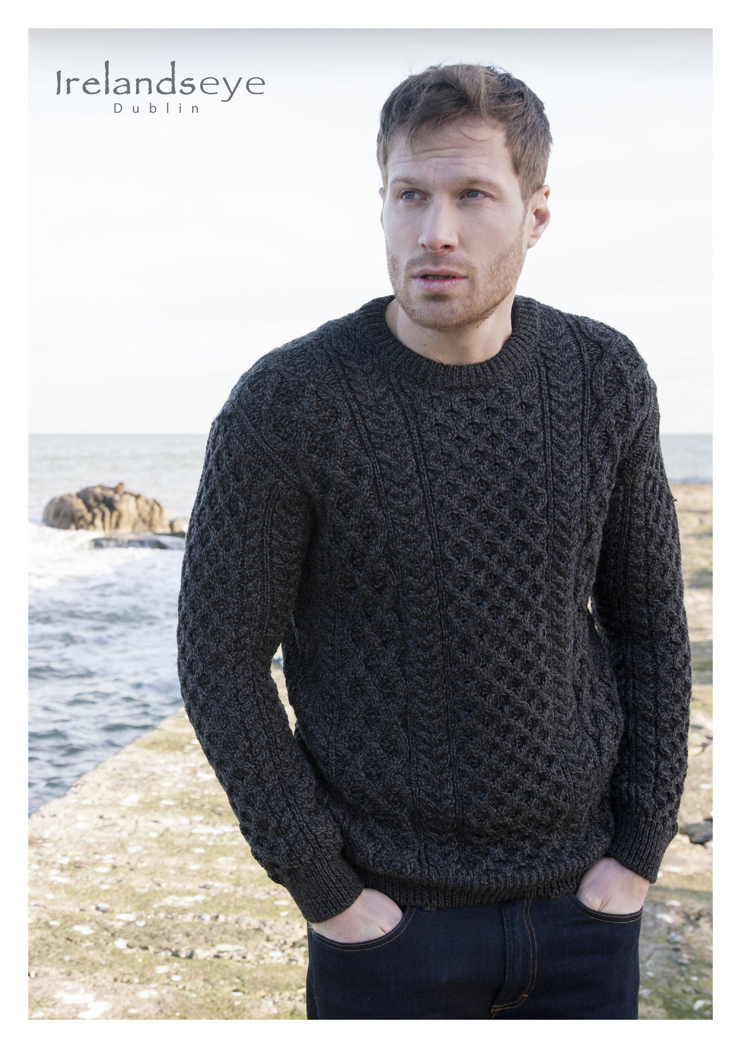 633efb5e6bd03 Aran sweater in charcoal by Irelands Eye Knitwear. 100% Merino Wool ...