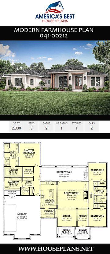 Moderner Bauernhausplan 041-00212   – Modern Farmhouse House Plans